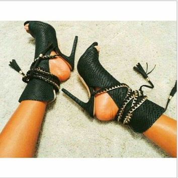 Fashion ladies black texture open toe black boots high-heels sandals shoes