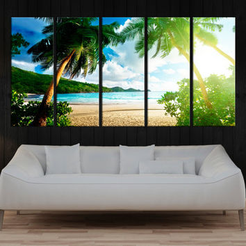 tropical beach canvas wall art print, palm beach canvas art, sea wall art,  fine art canvas, large wall art home wall decor canvas art 8a09