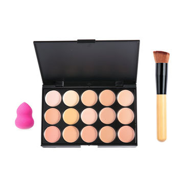 15 Color Concealer Makeup Palette with Powder Puff Brush