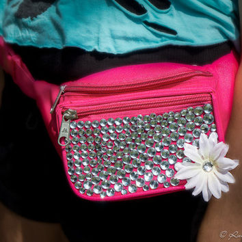 Rave Festival Pink Jeweled Fanny-Pack With a White Flower and Silver Rhinestones