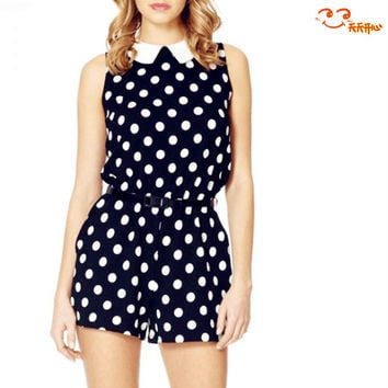 Sleeveless Jumpsuit - Dot pattern with collar = 4777452164