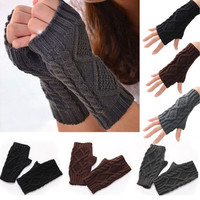 Unisex Men Women Arm Warmer Fingerless Knitted Long Gloves Cute Mittens  01-035