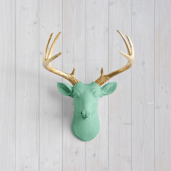 The Virginia Mint Green Faux Mini Deer Head