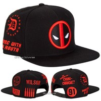 Licensed cool MARVEL DEADPOOL Allover Embroidered Logo Symbol SNAPBACK BALL HAT CAP FLAT BILL