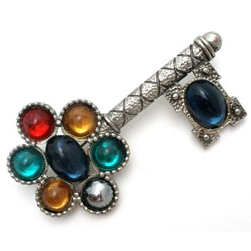 Multi Color Rhinestone Key Brooch Pin Vintage
