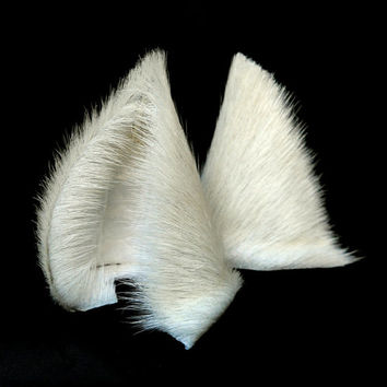 White Fur Leather Wolf Dog Fox Ears Limited Edition Inumimi Cosplay Furry Goth Fantasy Fashion Wear