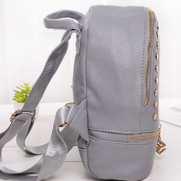 Gray Zip Pocket Stud Embellished Backpack