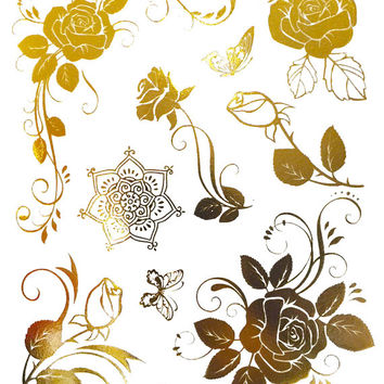 Roses Metallic Temporary Flash Tattoo Gold Silver Festival Beach Holiday Gift Present Birthday Gift For Her Flash Tattoo