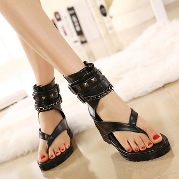 Platform Chain Rivets Gladiator Goth Punk Medieval Sandals