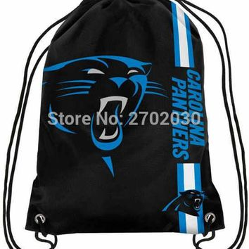 Carolina Panther Drawstring Bags Men Sports Backpack Digital Printing Pouch Customize Bags 35*45cm Sports National Fottball Team