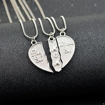 """3pcs/set Pendant Necklace Engarved """"Big Sis MOM Little Sis"""" Love Heart Pendant Necklace Mother Daughter Necklace Family Jewelry"""