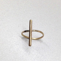 Gold Vertical Bar Ring - Statement Jewellery - Minimal - 18k - Solid 18 Carat - Thin Ring - Simple - Delicate - Dainty Jewelry