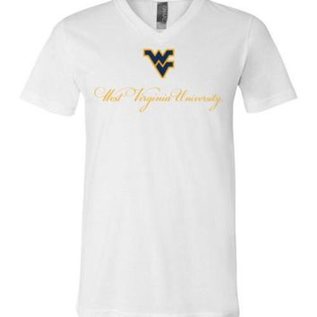 Official NCAA West Virginia University Mountaineers Hail WVU Cursive V-Neck T-Shirt - 61U-WV