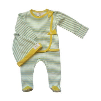 Newborn clothes, organic cotton baby set, baby gift set, shower gift, baby pants, knotted baby hat, striped yellow, unisex baby clothes