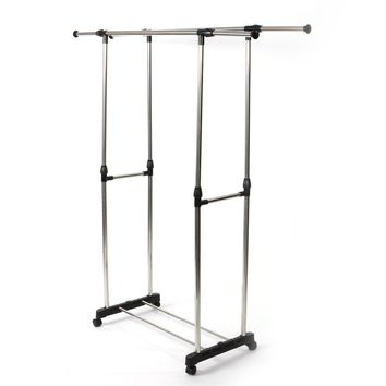 Heavy Duty Double Adjustable Portable Clothes Dry Hanger Rolling Rack Rail