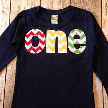 one 1st Birthday Shirt kids fall outfit primary colors chevron Boy Party red blue yellow green navy balloons -party theme cake 1 year old