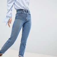 Lost Ink Slim Mom Jeans In Lightwash Denim at asos.com