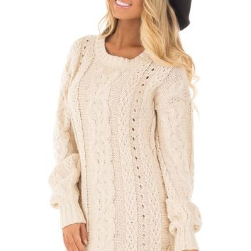 Tan Cable Knit Soft Bubble Long Sleeve Sweater Tunic Dress