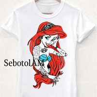 little mermaid art tattoo ScreenPrint, Short sleeved, funny shirt for T shirt Men and T shirt Girl
