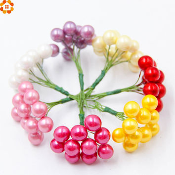 1cm 10pcs/lot Plastic Pearl Stamen Bouquet artificial flower for home Garden wedding Car corsage decoration crafts plants