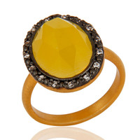 24k Gold Vermeil Sterling Silver Moonstone Gemstone Ring With CZ