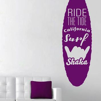 ik2563 Wall Decal Sticker race wave california surf board Living sports shop stained glass