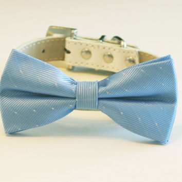 Sky Blue Dog Bow Tie -Chic and Elegant Bow tie with high quality leather collar-Something blue, blue wedding accessory