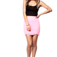 Neon Pink Scalloped Skirt