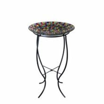 birdbath glass mosaic multi color 16-inch with metal stand