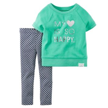 Carter's ''My Heart Is So Happy'' Tee & Leggings Set - Toddler Girl, Size: