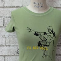 Roller derby Tshirt, I'd Hit That, funny shirt,  screenprinted, Apple Green, Womens Tshirt, Ladies Tee Shirt, Women's Clothing