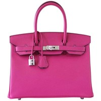 HERMES BIRKIN 30 Bag Horseshoe Rare Pink Rose Shocking / Blue Paon Palladium