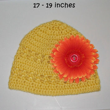 SALE - Yellow hat with Orange detatchable Flower