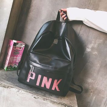 Pink Back To School Comfort College PU Backpack [11728277967]