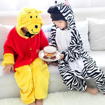 Funny Children Animal Bear Zebra Pajamas Kids Hooded Romper Cosplay Onesuit Girls Boys Halloween Party Costumes Homewear Jumpuits