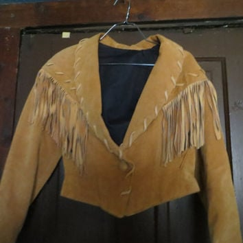 Suede Fringe Jacket // Vintage   80's Cropped Leather Jacket // Biker Motorcycle //  Boho Hippie // Saddle Brown // Small