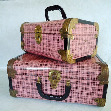 Pair of Pink Plaid Metal Cases, Vintage Pink Metal Train Case Luggage Set