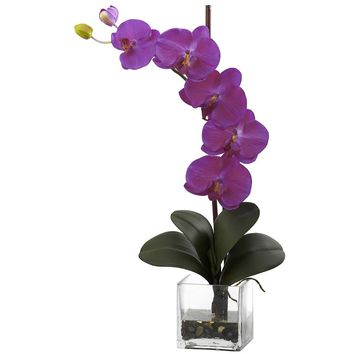 Silk Flowers -Giant Phal Orchid With Vase Artificial Plant