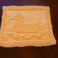 Hand Knit Yellow Ducky Cotton Baby Wash Cloth
