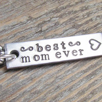 Best Mom Ever Necklace ONE Tag Hand Stamped Rectangle Bar Jewelry Charm Aluminum Personalized Stainless Steel Chain Mothers Day