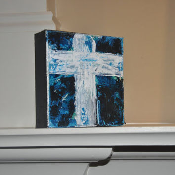 Acrylic Cross Painting on Canvas - 5x5 Original