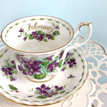 Royal Albert Tea Cup and Saucer, February Flower Birthday Teacup, Tea Cups Vintage, High Tea, Tea Party, English, Purple Teacup, Tea Cup Set