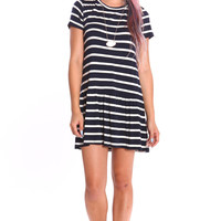 RUFFLED NAUTICAL SHORT SLEEVE DRESS