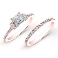 0.90 carat Princess & Round Brilliant Cut Diamond Bridal Ring Set in 14k Rose Gold