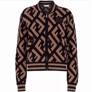 FENDI Classic Popular Women Casual Full F Letter Knit Long Sleeve Zipper Sweater Cardigan Jacket Coat Coffee I13659-1