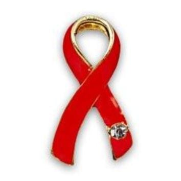 Red Ribbon Pin - Large with Crystal for Heart Disease Awareness