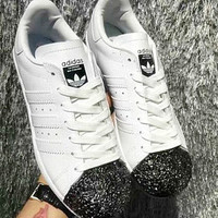 Adidas Shamrock SUPERSTAR metal shell head shining shoes shining toe cap White