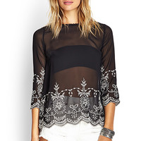 FOREVER 21 Embroidered Woven Top Black/Cream