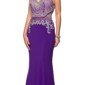 Long Prom Dress Beaded Bodice Sheer Midriff Cut Out Back Purple