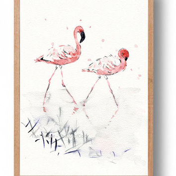 Flamingos watercolor, original painting, flamingo painting, birds art, natural life watercolor, coral salmon pink, home decor, wild life art